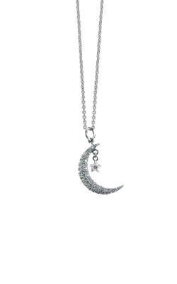 18KT GOLD HALF MOON WITH STAR DIAMOND PENDANT 000044AWCHX0 product image