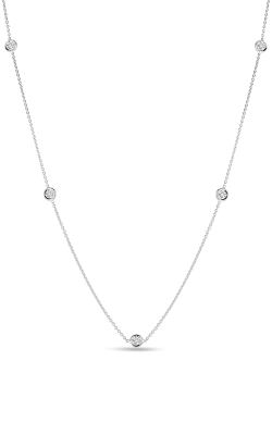 18KT GOLD NECKLACE WITH 5 DIAMOND STATIONS 001316a-config product image