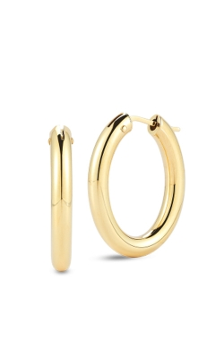 18KT GOLD MEDIUM ROUND HOOP EARRINGS 210006AYER00 product image
