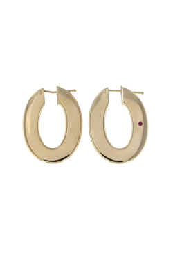 18KT GOLD FLAT OVAL HOOP EARRINGS 262604AYER00 product image