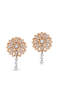 18KT GOLD FLOWER EARRINGS WITH DIAMONDS 449657AHERX0 product image