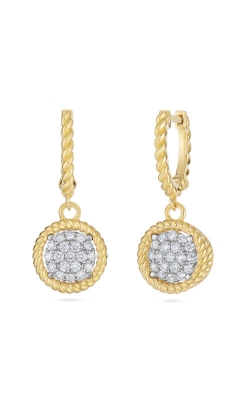 18KT GOLD PAVE CIRCLE DROP EARRINGS 7771327B-CONFIG product image