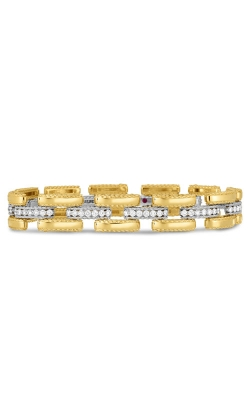 18KT GOLD SLIM RETRO LINK BRACELET WITH DIAMONDS 7771395A-CONFIG  product image
