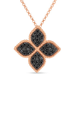 18KT GOLD LARGE FLOWER NECKLACE WITH BLACK DIAMONDS  7771705AX18B product image