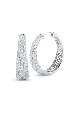 18KT GOLD LARGE TAPERED INSIDE OUTSIDE DIAMOND HOOP EARRINGS 8881416AWERX product image