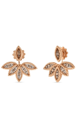 18KT GOLD BROWN DIAMOND STUD EARRING WITH FAN JACKETS 8882246ABERB product image