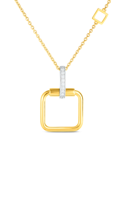 18K SMALL SQUARE PENDANT W. DIA ACCENT ON CHAIN 8882483D-CONFIG product image